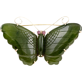 Large 14K Jade and Ruby Butterfly Pin