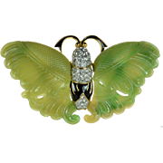 Kenneth Jay Lane Rare Colorway Faux Jade and Enamel Butterfly Pin Very Large 3 Inches