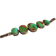 "Turquoise and Sterling Link Bracelet up to 8"" Wrist Man or Woman can Wear"