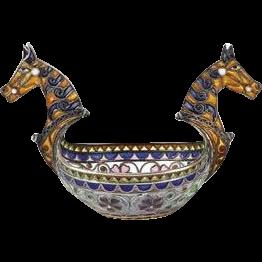 EXTREMELY Rare Marius Hammer Plique a Jour Enamel Horse Head Open Salt