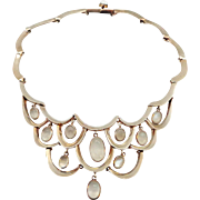 Antonio Pineda Moonstone Sterling Silver Bib Necklace