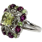14K White Gold Citrine Amethyst and Diamond Fancy Cocktail Ring SZ 8 1/2