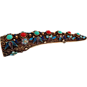 Ceremonial Chinese Fingernail Guard with Enamel and Stones