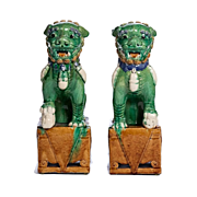 Tall 17 1/2 Inch Pair of Chinese Foo Dogs