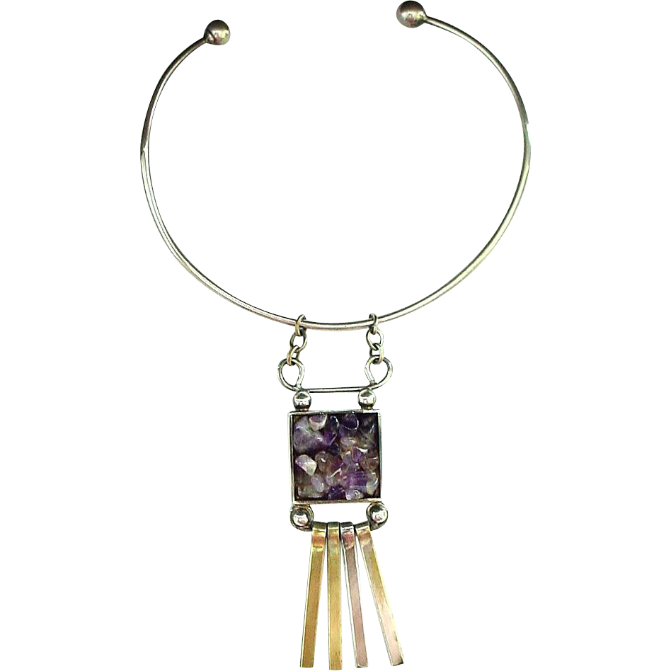 Handmade Modernist Denmark Articulated Pendant and Neck Ring