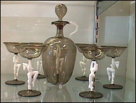 Figural 8 PC Bimini Austrian Glass Decanter Set Naked/Nude Women