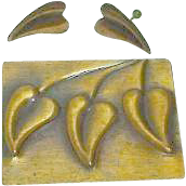 Classical Rebajes Modernist Copper Brooch and Earring Set