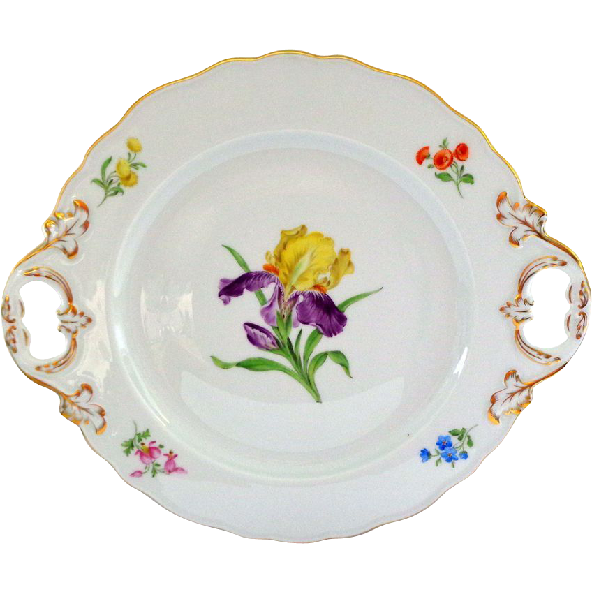 Hand Painted Meissen Iris Decorated Server 12""
