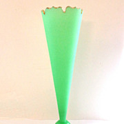 "13"" Tall French Green Opaline Vase - Fluoresces"