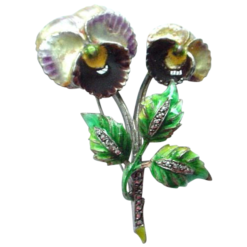 Beautiful German Enamel on Sterling Double Pansy Brooch Pin