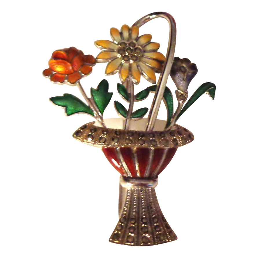 German Art Deco Enamel on Sterling Basket of Flowers Pin