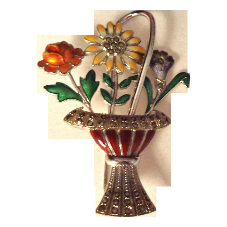 German Art Deco Enamel on Sterling Basket of Flowers Pin