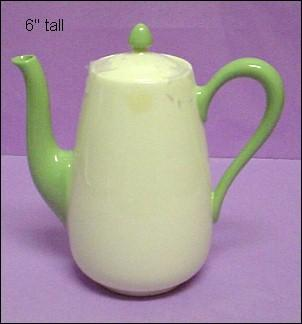 Lenox Green Mark Green & Cream Diminutive Sized Coffeepot