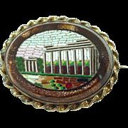 Antique Micromosaic Mosaic Brooch/Pin of Ruins