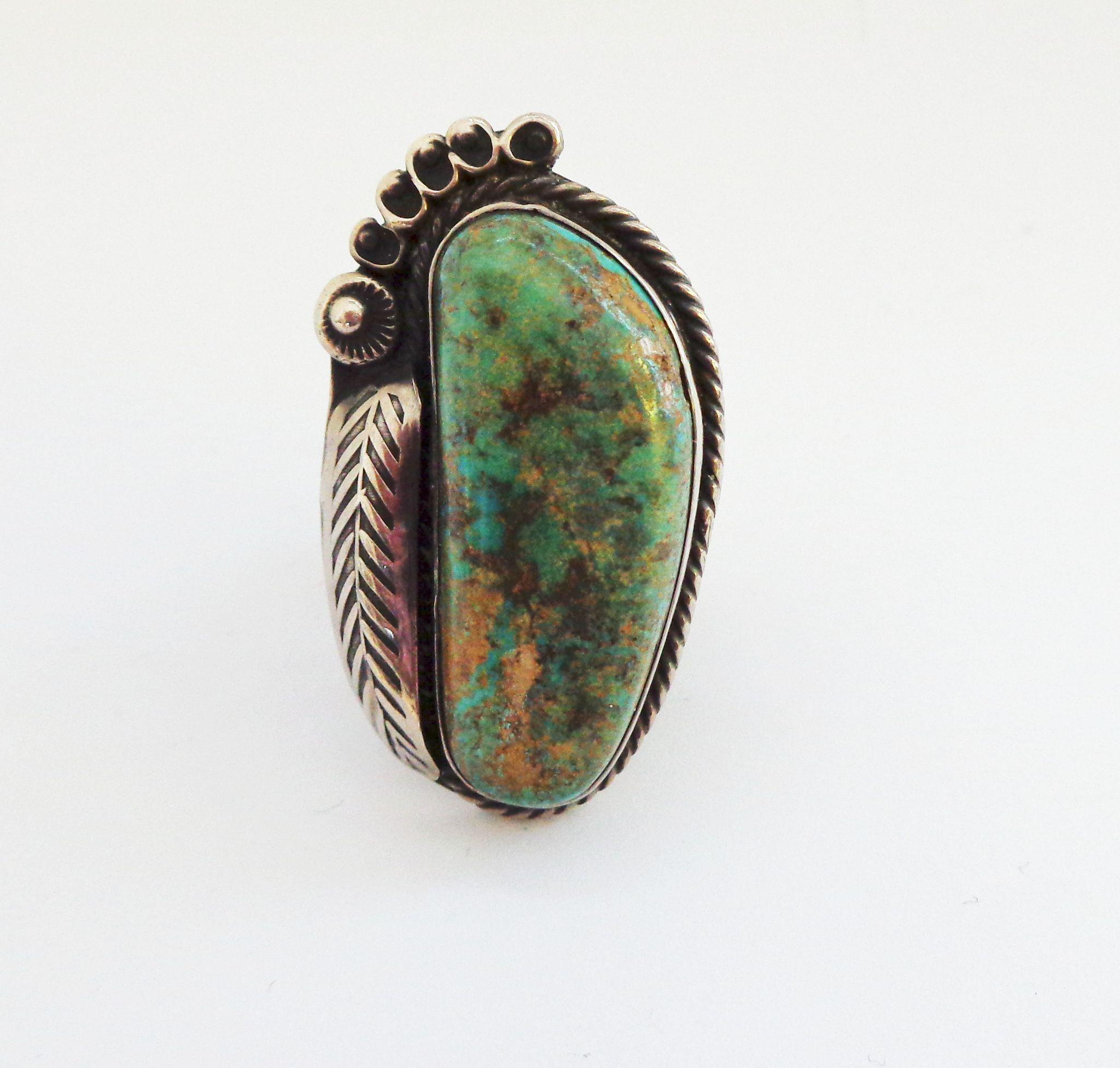 Very large Native American Turquoise and Sterling Silver Ring-Sz 9 1/2