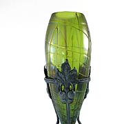 Antique Circa 1890 Rindskopf  Vase In Ornate Metal Armature
