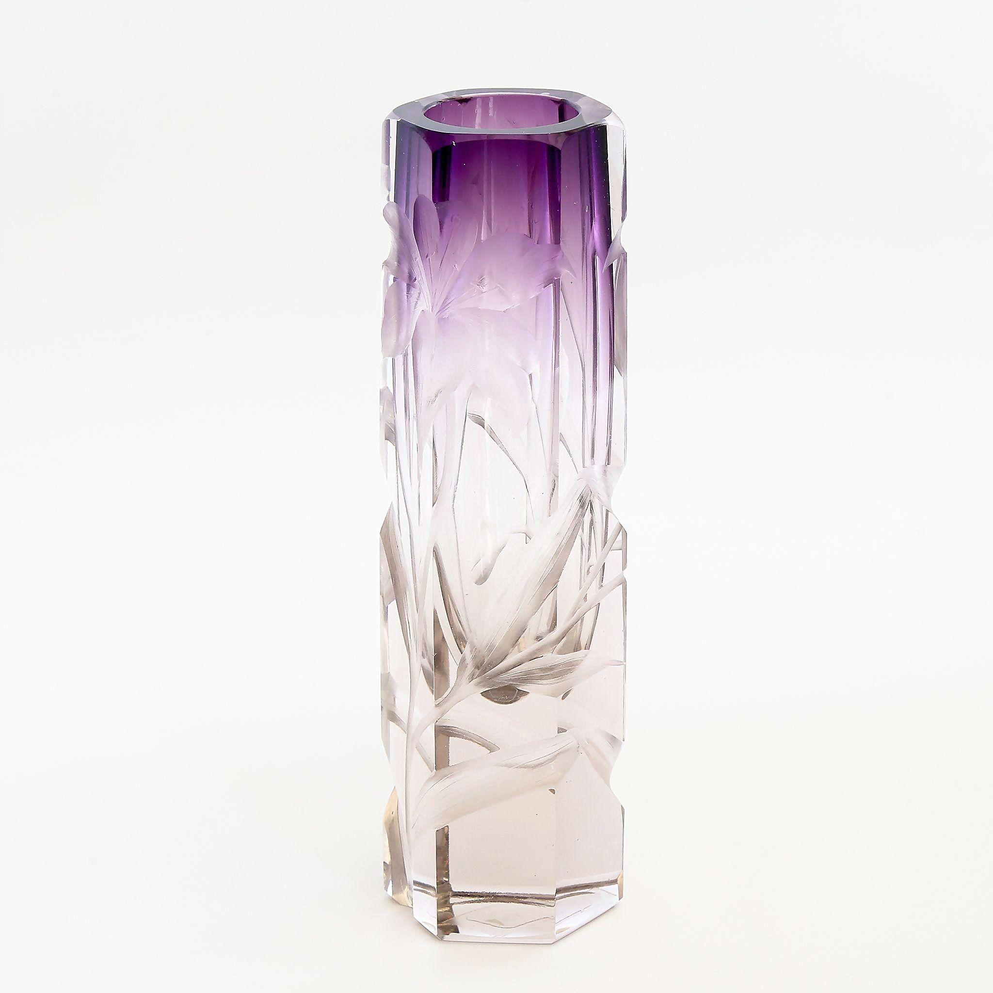 Antique  Moser  Intaglio  Cut  Clear  To  Amethyst  Vase