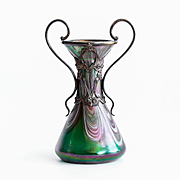Magnificent Circa 1890 Antique Art Nouveau Art Glass Vase In Metal Armature By Rindskopf