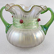 Circa 1890 Kralik Art Nouveau Art Glass Vase With Applied Cherries