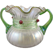 Circa 1890 Kralik Art Nouveau Art Glass Vase With Applied Cherries