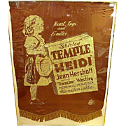Very Rare Shirley Temple 1937 Promotional Heidi Movie Cloth Banner – 20th Century Fox