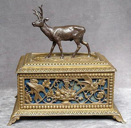 Exceptional Circa 1880 Antique Victorian Bronze Jewel Casket