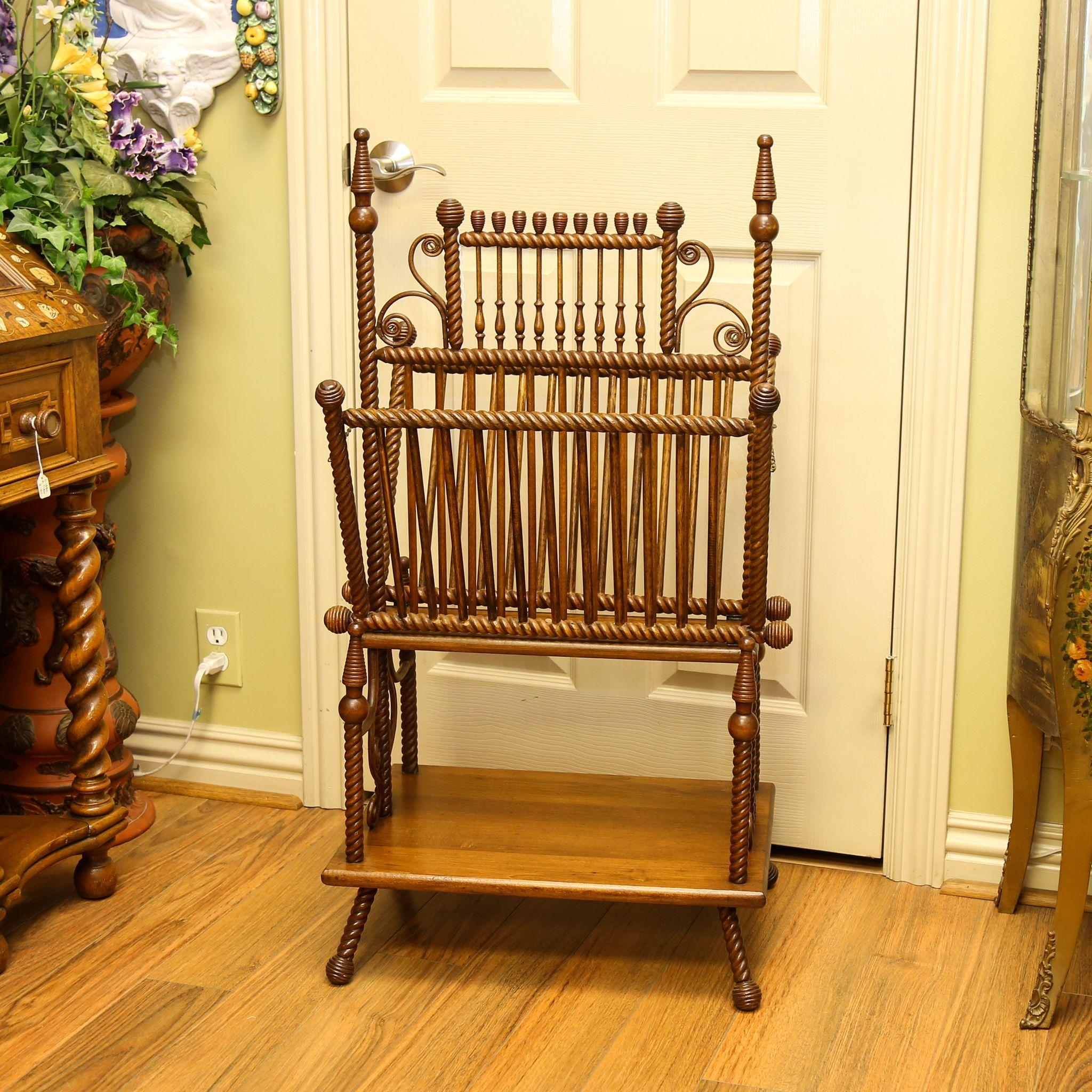 Circa 1880 Victorian Walnut & Wicker Ornate Magazine Stand