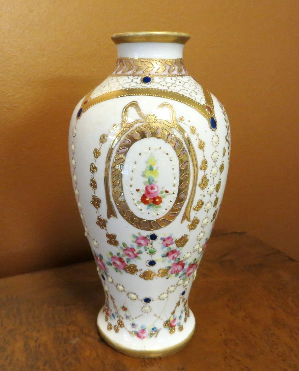 Ornate Circa 1920 S Jeweled Amp Floral Enameled Nippon Vase