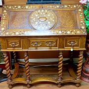 Circa 1890 Ornate Antique Inlaid Drop Front Desk