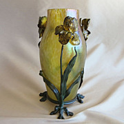Circa 1900 Loetz Papillon Vase In Ornate Floral Armature