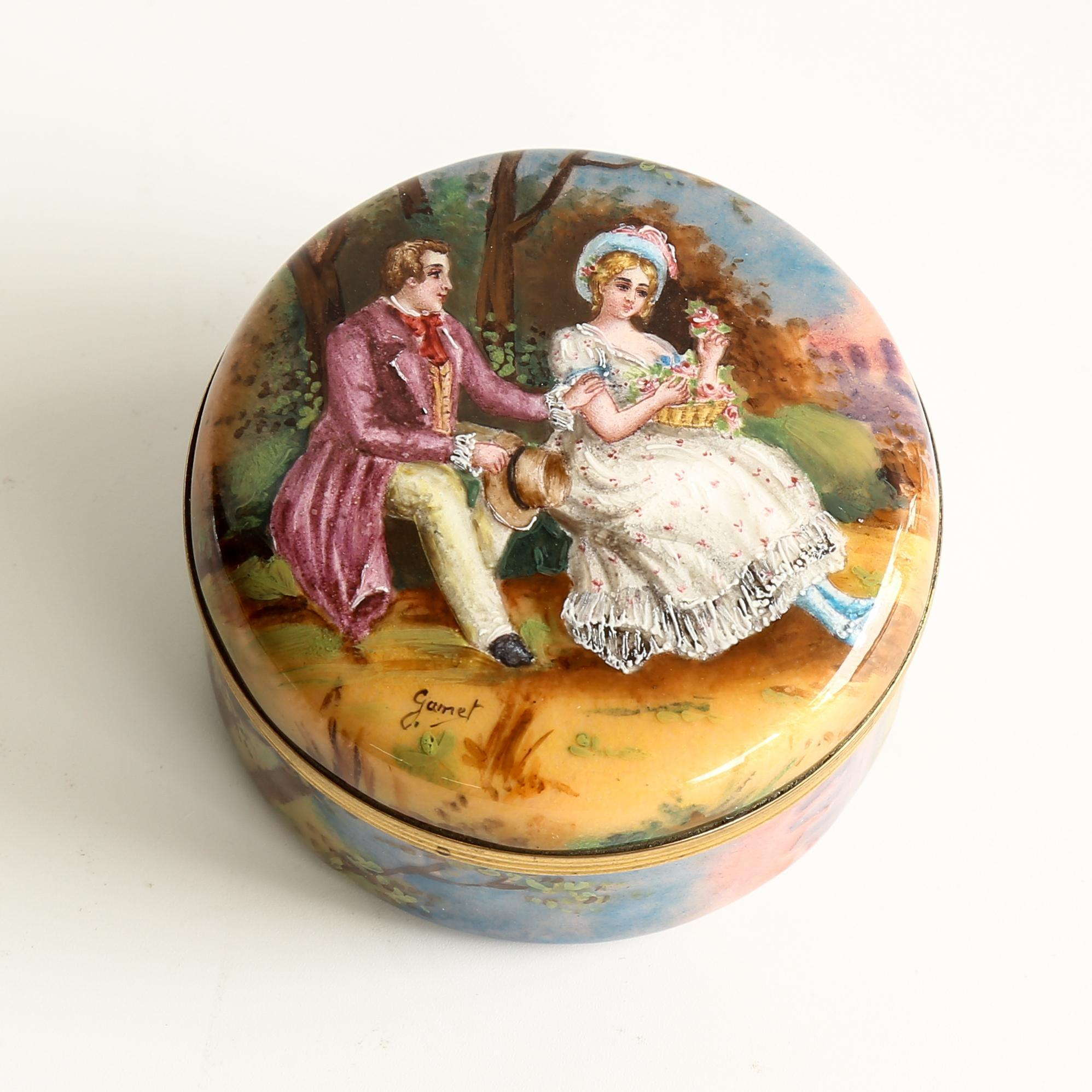 Circa 1890 Antique Artist Signed French Scenic Enameled Box