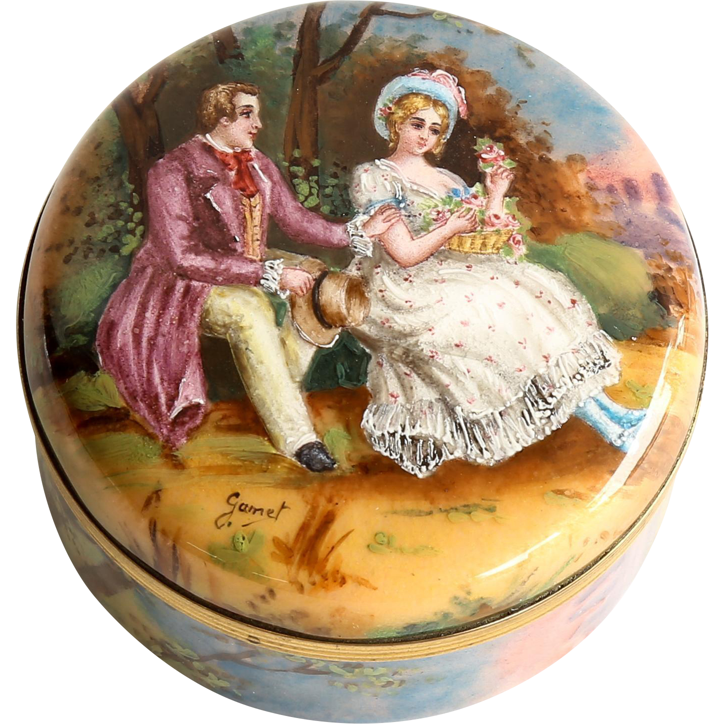 Circa 1890 Antique Artist Signed Scenic Enameled Box