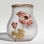 Beautiful Circa 1900 Enameled Floral Mont Joye Vase
