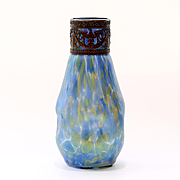 Circa 1890 Antique Loetz Jugendstil Period Art Nouveau Vase With Metal Eagle Collar