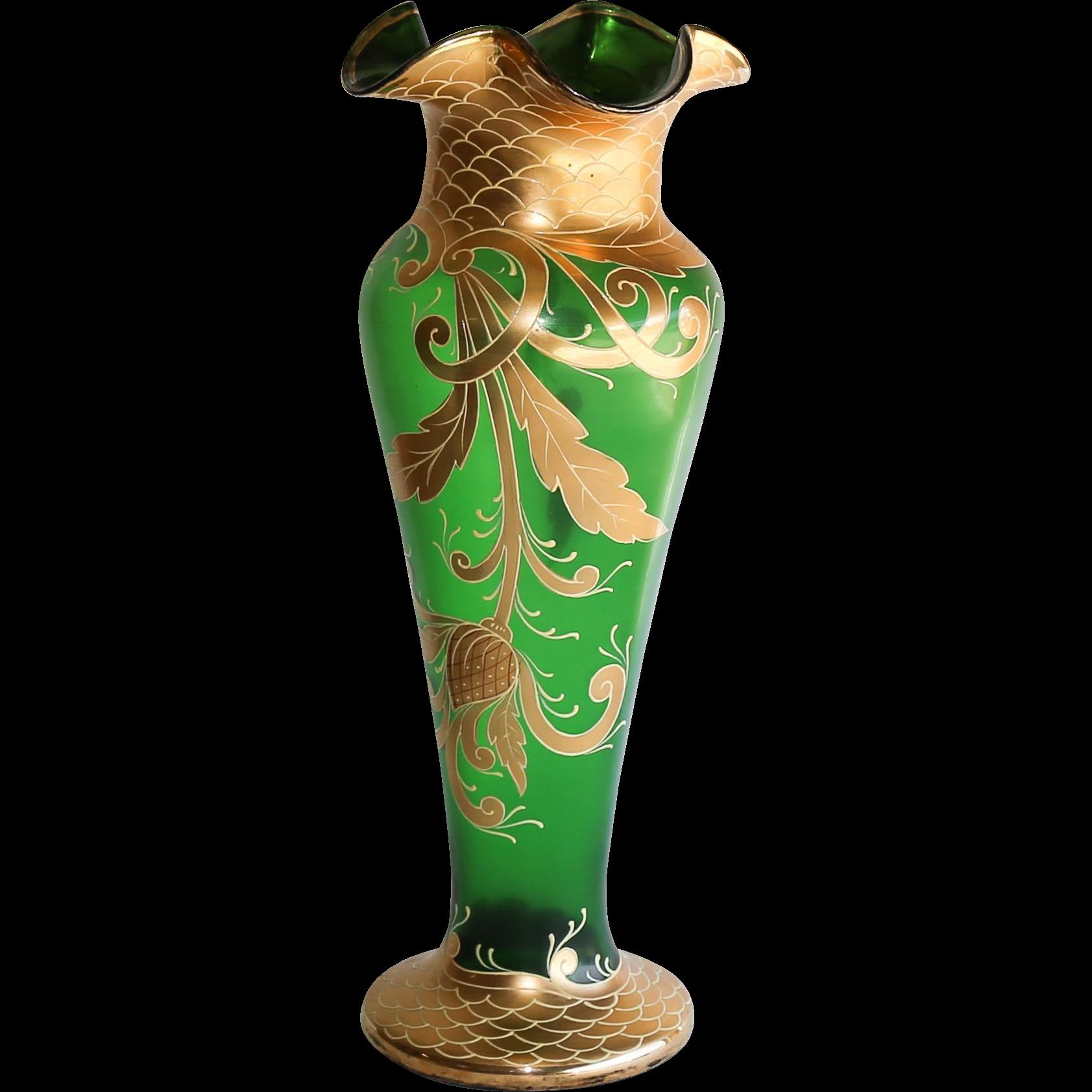 Massive Antique Moser Enameled Vase