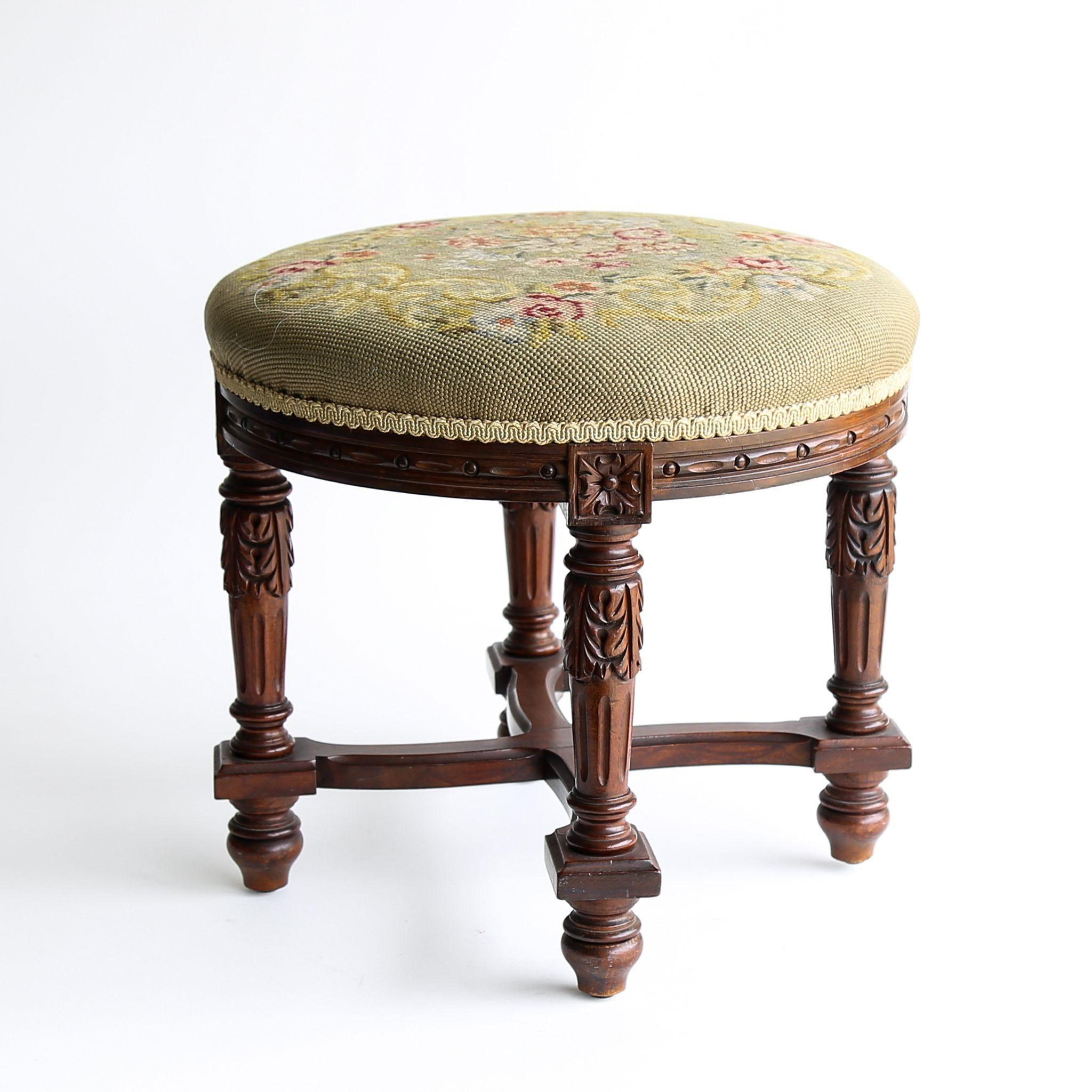 Circa 1910 Antique Carved Needlepoint footstool