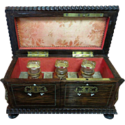 Lady's Circa 1860 French Rosewood Inlaid Boulle Perfume Casket