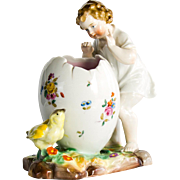 Circa 1880 Victorian Antique Porcelain Child With Chick & Egg