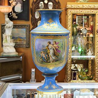 Monumental 19th Century Signed Sevres Scenic Vase