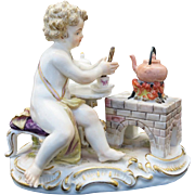 Early 19th Century Signed Meissen Porcelain Putti