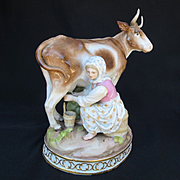Antique Circa 1815 Signed Meissen Porcelain of Young Maiden Milking Cow