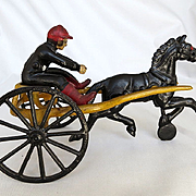 Rare Antique Victorian Cast Iron Harness Racing Toy