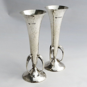 Pair Circa 1890 Hand Hammered Sterling Vases