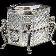 Magnificent Vintage Cutglass Box In Ornate Figural Silver Holder