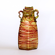 Rare Iridescent Threaded Loetz Art Nouveau Vase
