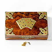 Antique English Burl Walnut Playing Card Box