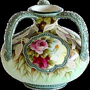 Circa 1890 Rare Antique Unsigned Nippon Moriage Tri-Handled Vase