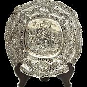 Circa 1890 Antique Mammoth 800 Silver Figural Cherub Bowl