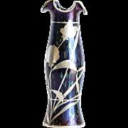 Circa 1890 Antique Tall Loetz Silver Overlay Vase