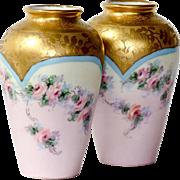 Pair Vintage Artist Signed Hand Painted Porcelain Vases